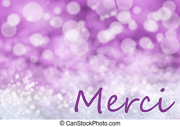Pink Bokeh Christmas Background, Snow, Merci Means Thank You...