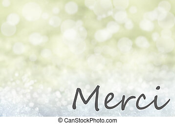 Golden Bokeh Christmas Background, Snow, Merci Means Thank...