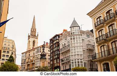 View of Santander - View of buildings and belltower of...