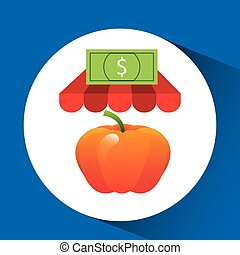 buying online tangarine vegetable icon vector illustration...