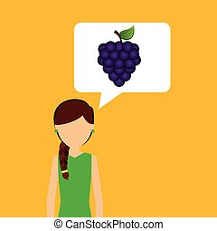 character shopping grape fruit