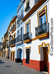 Triana barrio Seville facades Andalusia Spain - Triana...