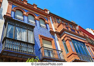 Triana barrio facades in Seville Andalusia Spain Sevilla