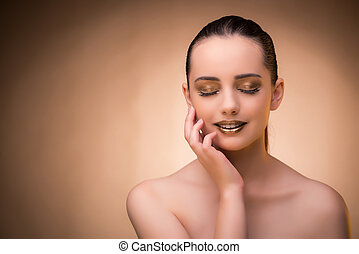 Woman with beautiful make-up against background