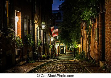 Acorn Street at night, in Beacon Hill, Boston,...
