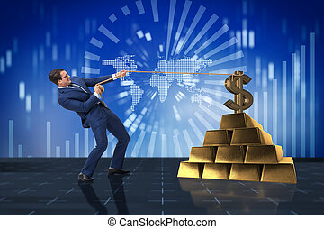 Businessman pulling dollar and gold bullions