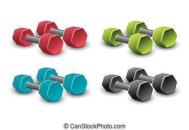 Set of dumbbells in different colors