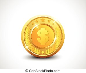 Golden coin dollar sign with stars and laurel wreath
