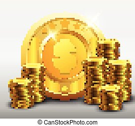 Golden coins with dollar sign and stacks of gold coin