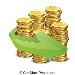 Gold coins and arrow on a white background