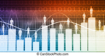 People Standing on a Bar Chart with Different Levels