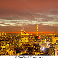 New York - DECEMBER 20, 2013: View of Lower Manhattan on...
