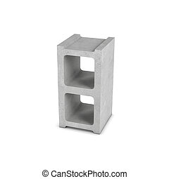 Rendering of cinder block isolated on white background - 3d...