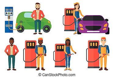 Vector set of characters on ecology issues. - Worker of gas...