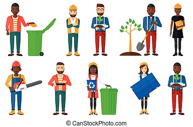 Vector set of characters on ecology issues. - Woman carrying...