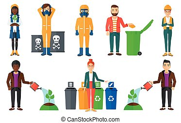 Vector set of characters on ecology issues. - Man watering a...