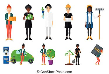 Vector set of characters on ecology issues. - Woman plants a...
