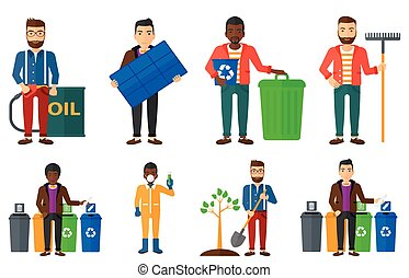 Vector set of characters on ecology issues. - Man throwing...