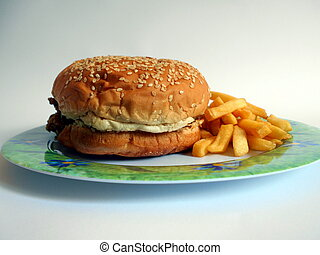 Zinger sandwhich with fries - KFC Zinger sandwhich on plate...