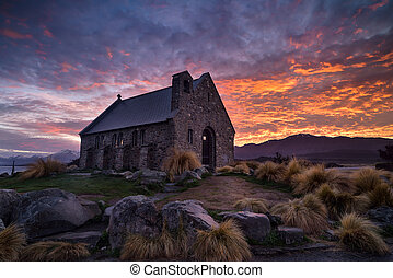 Sunrise at Church of the Good Shepherd built since 1935,...