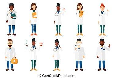 Vector set of doctor characters and patients. - Doctor in...