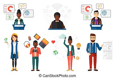 Vector set of people using modern technologies. - Female...