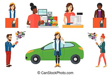 Vector set of shopping people characters. - Man paying...