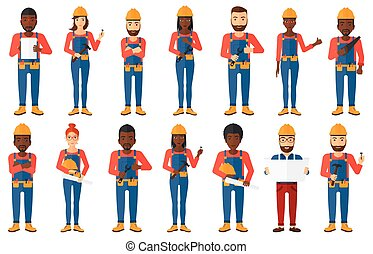 Vector set of constructors and builders characters - Young...