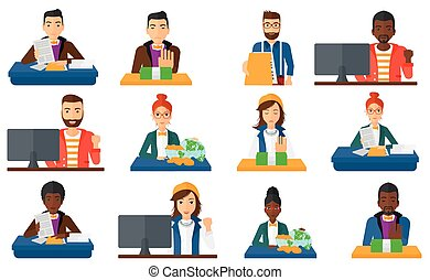Vector set of business characters. - Incorrupt businessman...