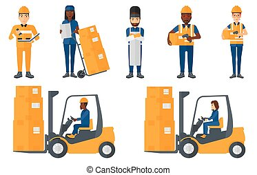 Vector set of industrial workers. - Warehouse worker...