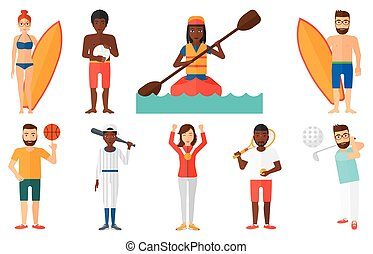 Vector set of sport characters. - Golfer hitting the ball....