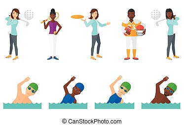 Vector set of sport characters. - Woman in swimming cap and...