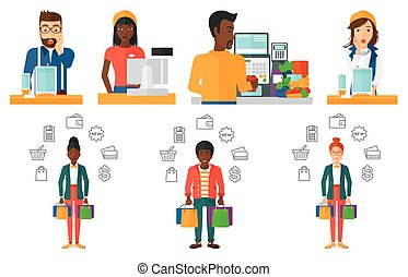 Vector set of shopping people characters. - Young cashier...