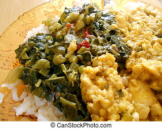 ackee and callaloo closeup in plate