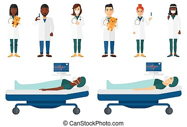 Vector set of doctor characters and patients. - Pediatrician...