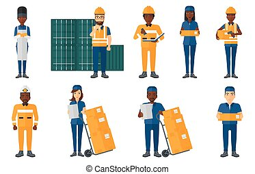 Vector set of industrial workers. - Delivery man standing...