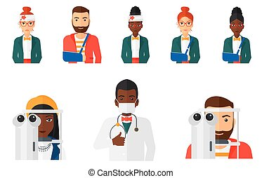 Vector set of doctor characters and patients. - Woman...