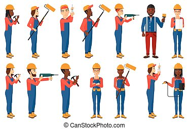 Vector set of constructors and builders characters -...