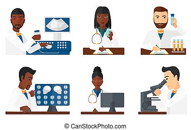 Vector set of doctor characters and patients. - Doctor...