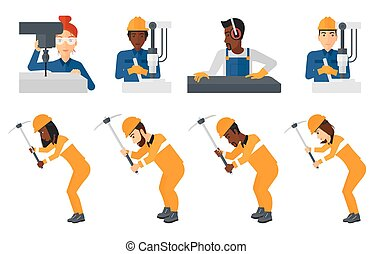 Vector set of industrial workers. - Miner working with a...