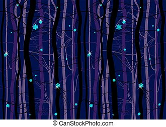 Seamless winter wood forest branches night pattern - christmas trees eve. Sparkly snowflakes purple dark blue cold. Vector