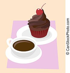 Dark Chocolate cupcake icing with cherry in red paper case. Black coffee in white cup. Cafe breakfast vector