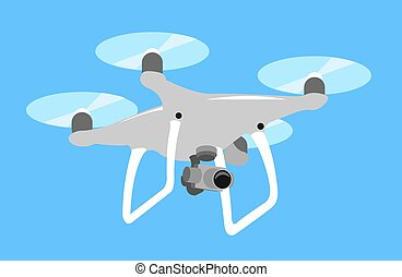 Gray drone quadcopter fly in blue sky. quad isolated icon....