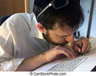 Sofer writes a sefer Torah. In the Torah's 613 commandments,...