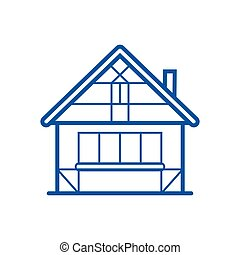 Winter Chalet Thin Line Icon - Winter chalet thin line icon....