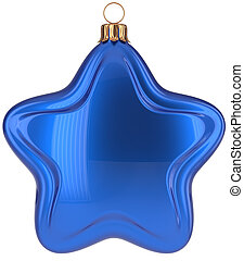 Christmas ball star shaped blue decoration Merry Xmas bauble