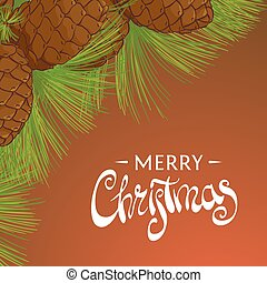 Christmas cedar cones with pine needles and a beautiful...