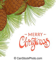 Holiday cedar cones on a white background with a beautiful...