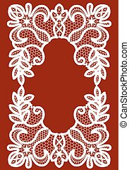 White lace frame - White lace lace frame on a maroon...