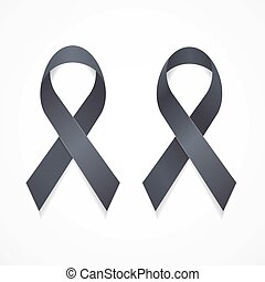 Black Ribbon Mourning and Melanoma Sign Set. Vector - Black...